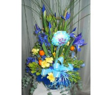 Blue Baby Box Arrangement