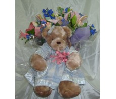 Baby Girl Bear and Bouquet