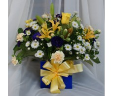 Blue and Yellow Box Arrangement
