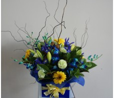 Seasonal Blue and Yellow Box Arrangement