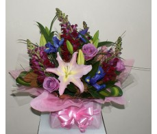 Burgandy and Pink Box Arrangement