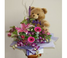 Bear and Pink Box Arrangement