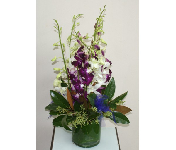 Purple and White Singapore Orchid Vase