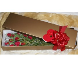 12 Long Stem Red Roses in a Gold Box