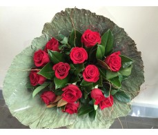 Red Roses in Lotus Wrap