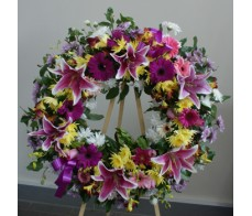 Bright Pink and  Lemon Wreath