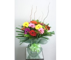 Gerbera Display in Glass Vase