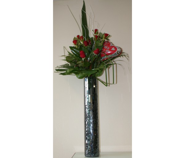 12 Red Roses in a Tall Charcoal Mosaic Vase with Balloon.