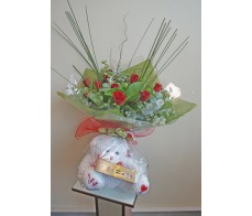 12 Red Rose Bouquet, Bear and Chocolates