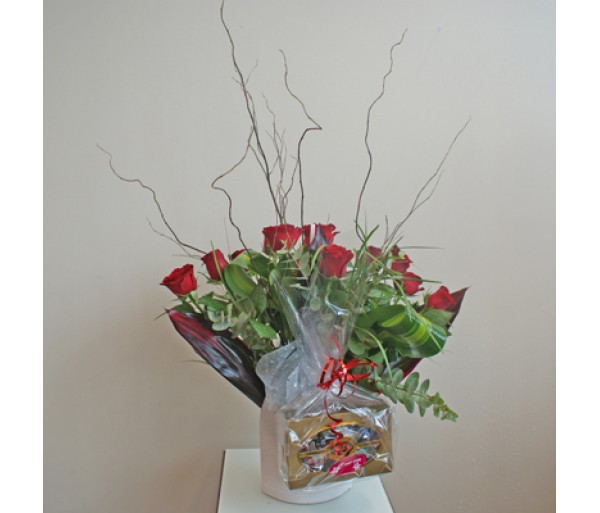 12 Red Roses in a Ceramic Vase and Chocolates.