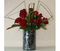 12 Red Roses in a Short Charcoal Mosaic Vase with Balloon.