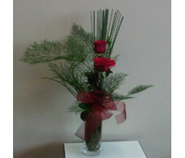 2 Red Roses in a Glass Vase