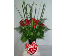 12 Red Roses, love heart pillow and vase