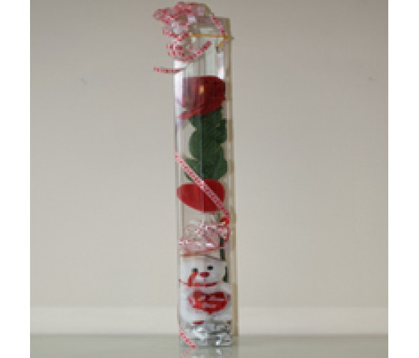 1 Artificial Red Rose and bear