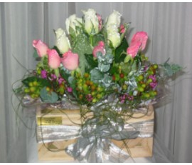 12 Pink and White Rose -Wooden Box Arrangement.