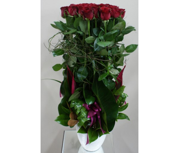 24 Long Red Roses - Ceramic Pot
