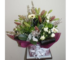 Burgundy and White Box Arrangement